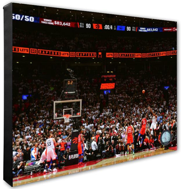 Toronto Raptors Kawhi Leonard Game 7 Buzzer Beater Shot Unsigned 16x20 Stretched Canvas - Multiple Angles - Bleacher Bum Collectibles, Toronto Blue Jays, NHL , MLB, Toronto Maple Leafs, Hat, Cap, Jersey, Hoodie, T Shirt, NFL, NBA, Toronto Raptors