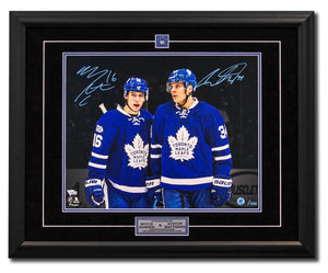 Mitch Marner & Auston Matthews Dual Signed Toronto Maple Leafs 100 Years 25x31 Picture Framed #/100 - Bleacher Bum Collectibles, Toronto Blue Jays, NHL , MLB, Toronto Maple Leafs, Hat, Cap, Jersey, Hoodie, T Shirt, NFL, NBA, Toronto Raptors