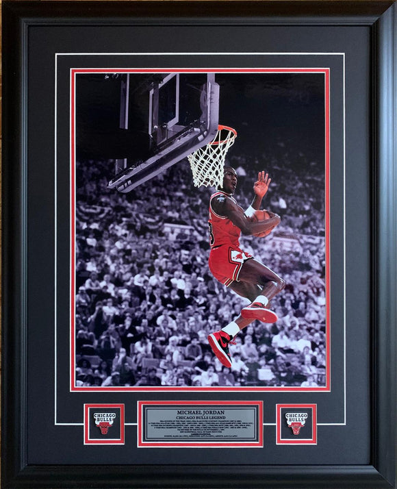 Michael Jordan Chicago Bulls REVERSE DUNK Spotlight Picture 25x31 Framed with Pins and Plate - Bleacher Bum Collectibles, Toronto Blue Jays, NHL , MLB, Toronto Maple Leafs, Hat, Cap, Jersey, Hoodie, T Shirt, NFL, NBA, Toronto Raptors