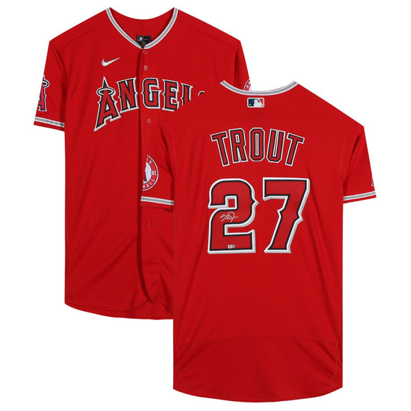 Mike Trout Los Angeles Angels Autographed Red Nike Authentic MLB Baseball Jersey