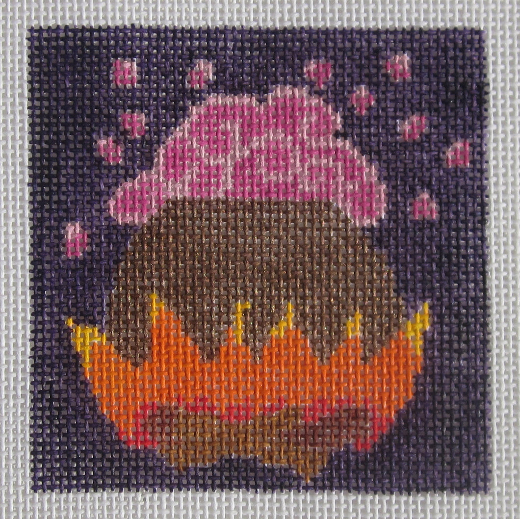 3x3-002 Cauldron with Pink Bubbles