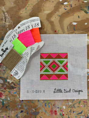 3x3-022A Pink, orange, chartreuse Mexican geometric 1
