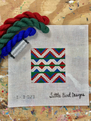 3x3-023 Blue, green, red Mexican geometric 2
