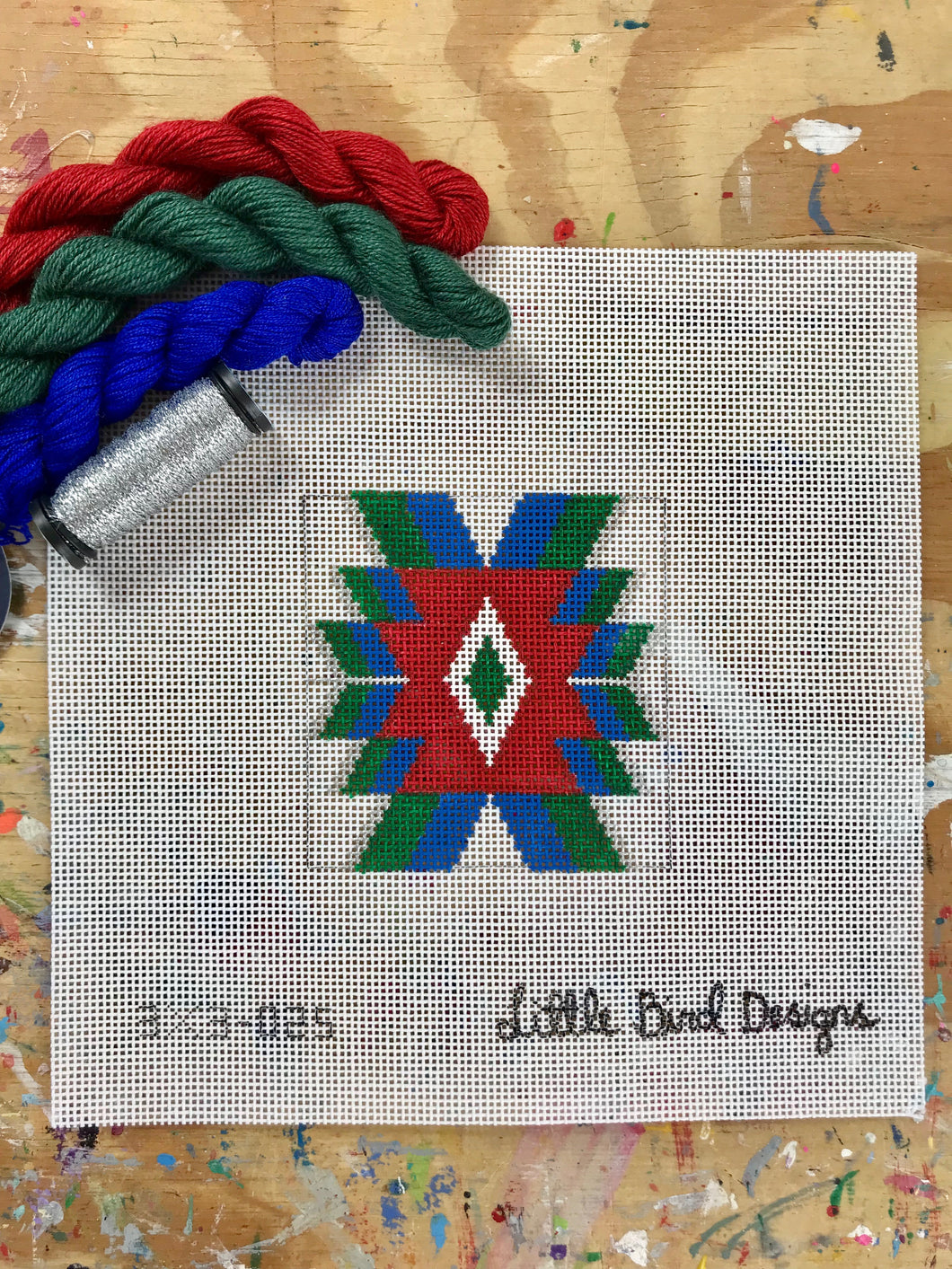 3x3-025 Blue, green, red Mexican geometric 4
