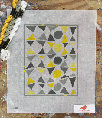CS-001 Gray and yellow triangles and circles