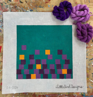 CS-006 Violet and yellow squares on teal background
