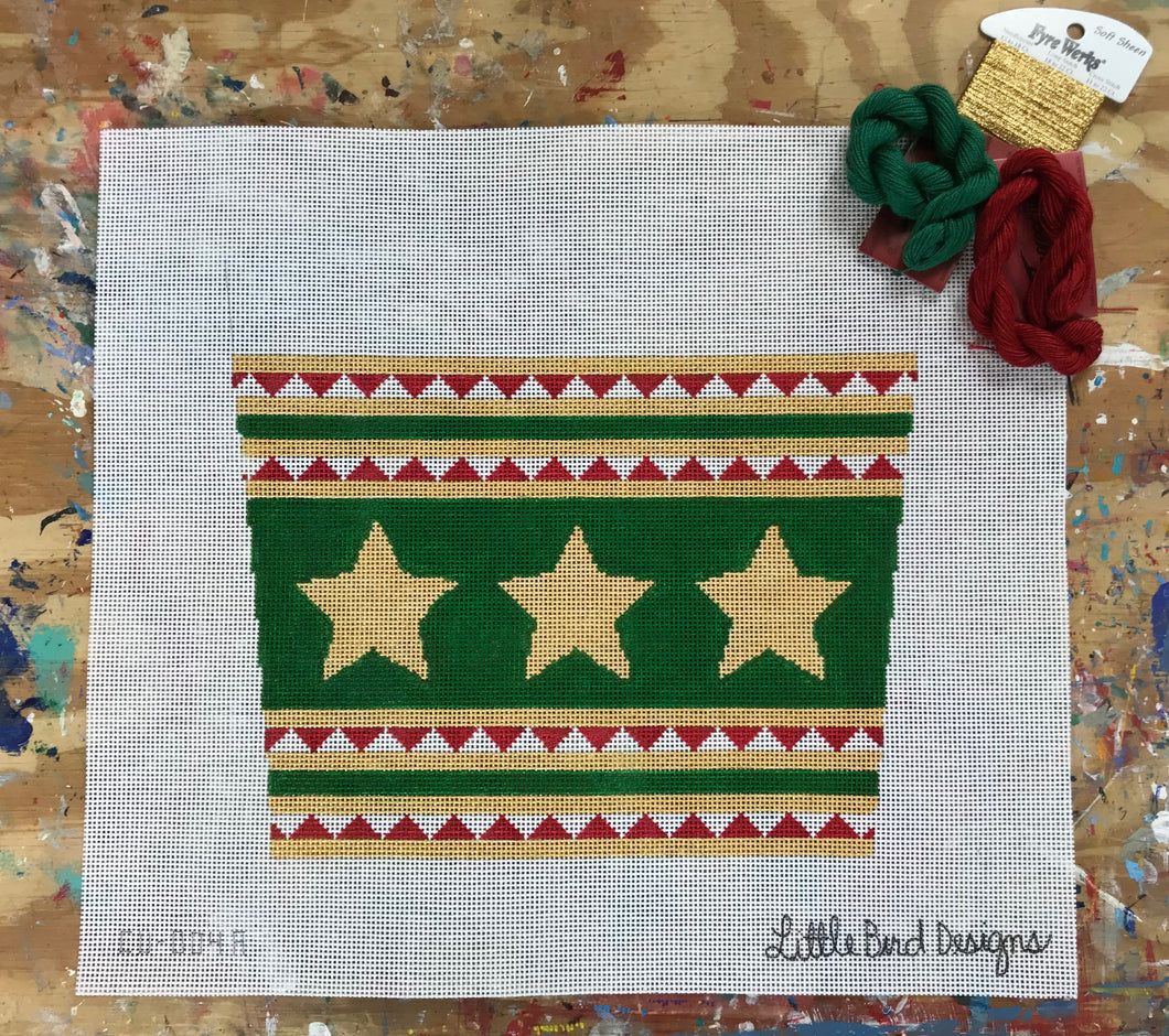 CU-004a Gold stars green background and triangle stripes stocking cuff