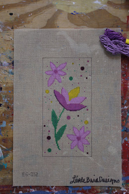EG-012 Purple and yellow flowers on beige canvas