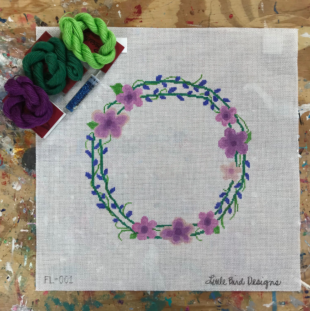 FL-001 Wreath of purple and blue flowers