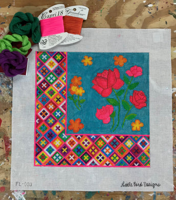 FL-003 Flowers with Oaxacan border