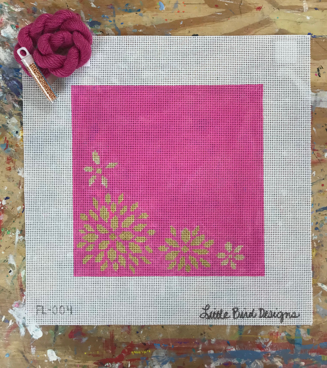 FL-004 Gold flowers on hot pink background