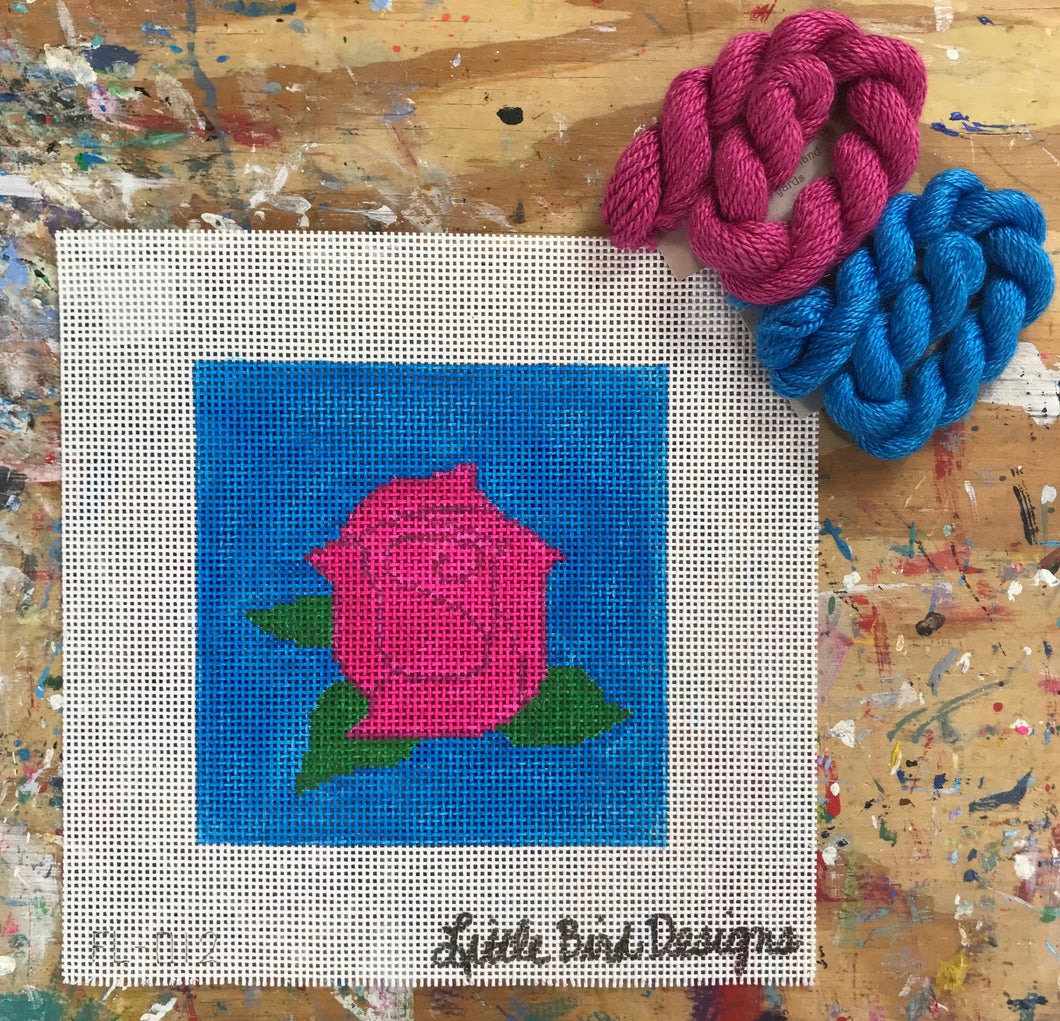 FL-012 Pink rose on blue background