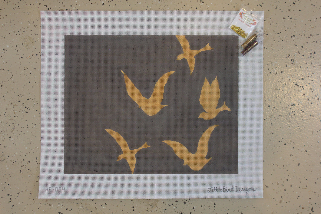 HB-004 Gold bird silhouettes on warm grey background