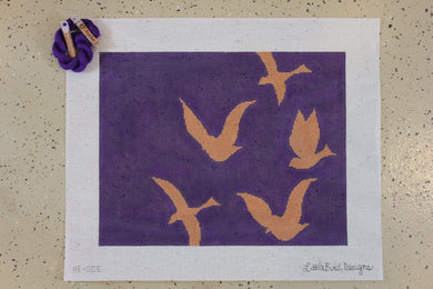 HB-005 Rose gold bird silhouettes on purple background