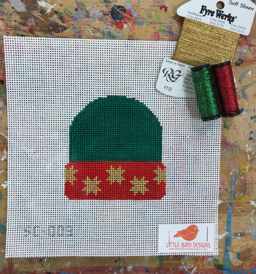 SC-003 Green with gold stars stocking cap