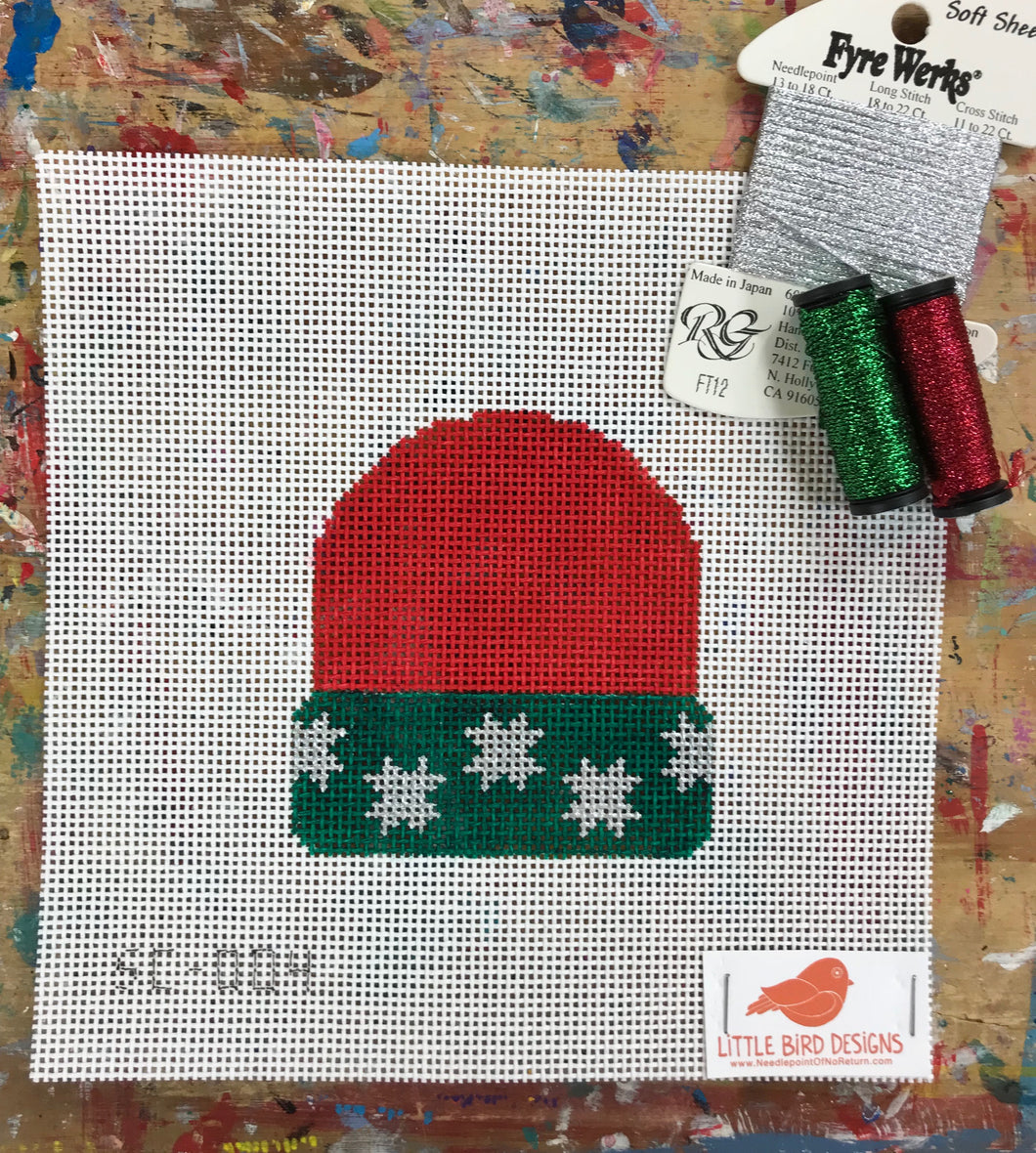 SC-004 Red with silver stars stocking cap