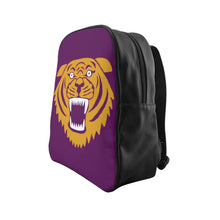 Wildcat with Dark Magenta Background - Leather Backpack