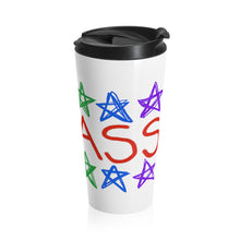 BADASS with rainbow stars - Stainless Steel Travel Mug