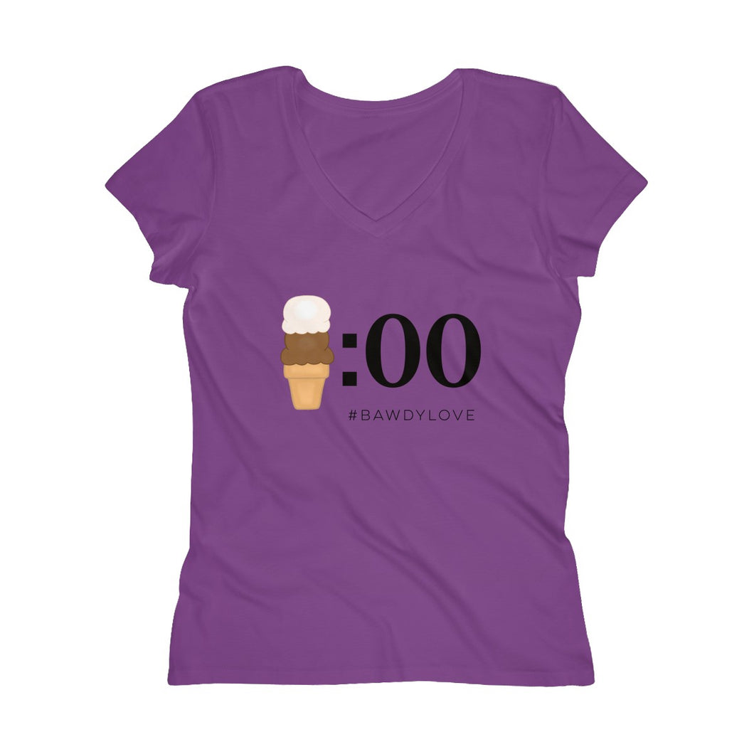 Ice Cream O'Clock Women's Soft Wash V-neck Tee -- a collaboration with Bawdy Love™