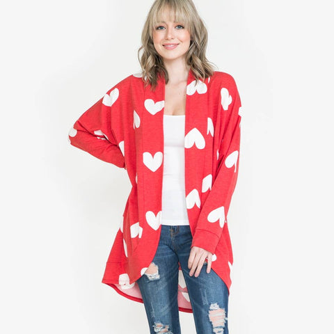 Red and White Heart Cardigan