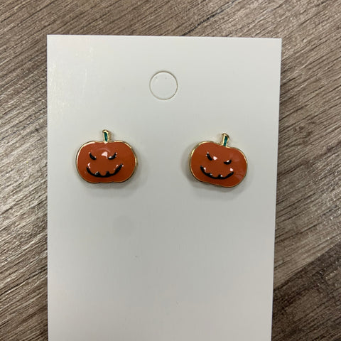 Jack-O-Lantern Enamel Stud Earrings