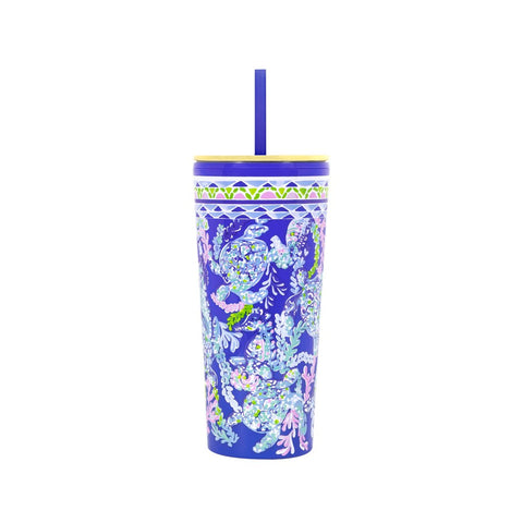 Lilly Pulitzer Tumbler with Straw, Turtle Villa