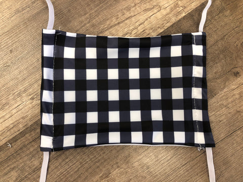 Moisture Wicking Mask - Black & White Plaid