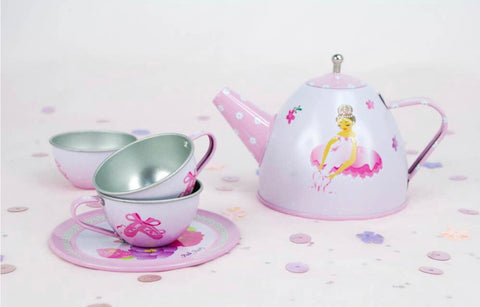 Ballerina Bouquet Tin Tea Set in Case
