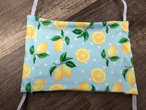 Moisture Wicking Mask - Lemon Polkadots