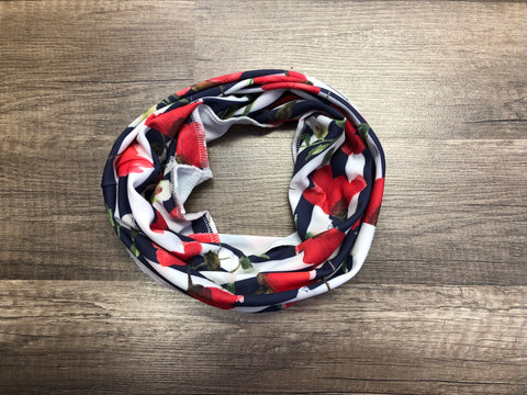 Gaiter Mask - Red and Navy Floral