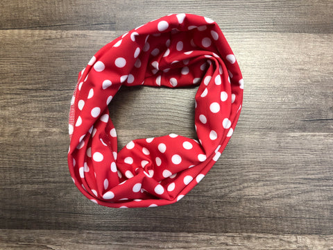 Gaiter Mask - Red and White Polkadots