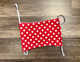 Moisture Wicking Mask - Red and White Polkadots