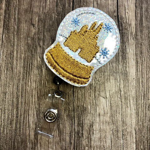Cinderella's Castle Snow Globe Badge Reel