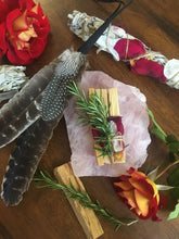 Palo Santo Smudge Stick Set with Quartz Crystal, Rose Petals & Rosemary
