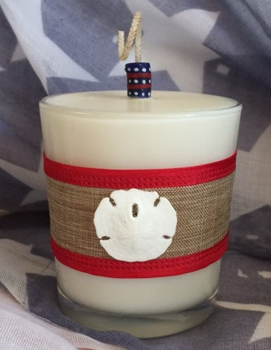 Patriotic July 4th Coconut Soy Wax Round Large Candle