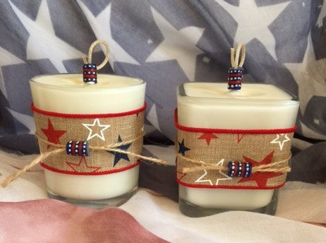 Patriotic July 4th Coconut Soy Wax Round and or Square Large Candle with 2 Krobo Beads