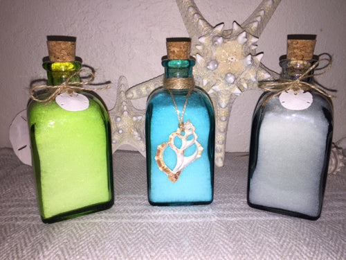 Dead Sea Bath Salts with Essential Oils 8 Ounces - Recycled Glass Bottle From Spain