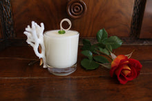 Sold - Natural Coral & Starfish Design, Coconut Soy Votive Candle, Cucumber Mint Scent
