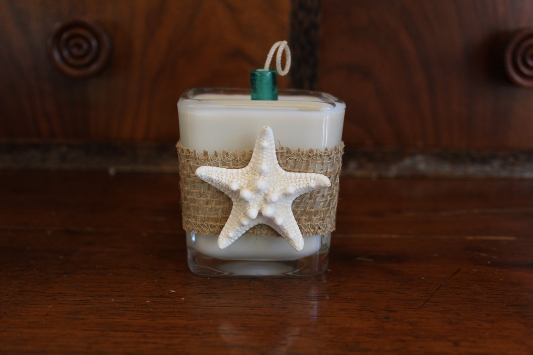 Nautical Burlap & White Starfish Design, Coconut Soy Wax Candle