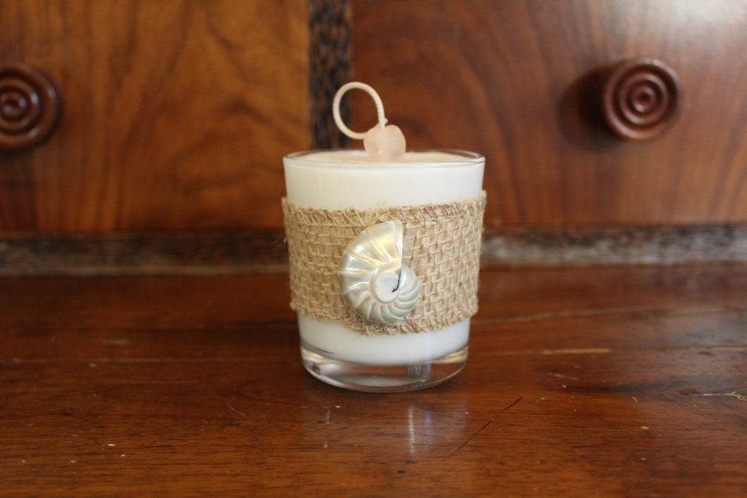 Natural Burlap & Half Nautilus Shell Design, Coconut Soy Wax Candle