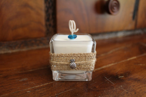 Pineapple Charm Design ~ Coconut Soy Square Votive Candle
