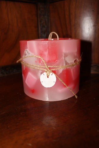 Pink and Red Hurricane Candle + 3 Ounce Votive