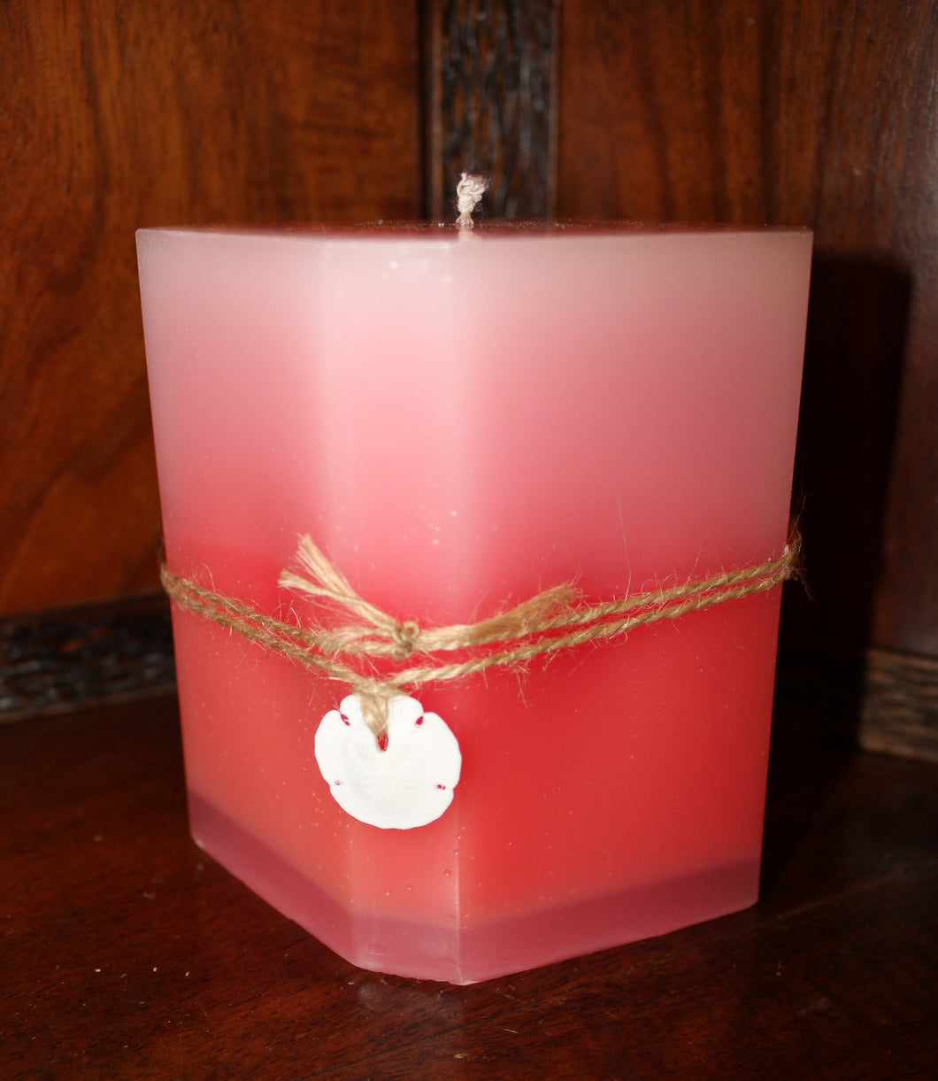 Pale Pink to & Red Ombre Parafin Candle (Rose, Eucalyptus, and Lemon Scent)