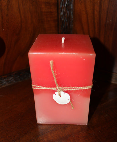 Red to Pink Ombre Square Parafin Candle (Rose, Eucalyptus, and Lemon Scent)