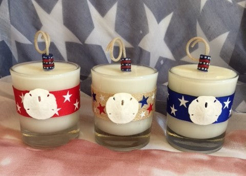 Patriotic July 4th Coconut Soy Wax Round Votive Candle