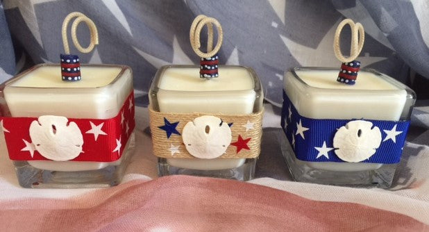 Patriotic July 4th Coconut Soy Wax Square Votive Candle