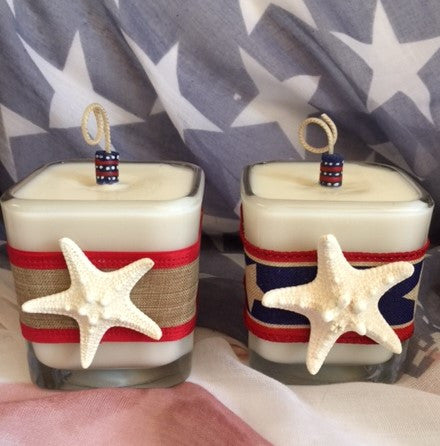 Patriotic July 4th Coconut Soy Wax Square Large Candle