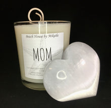 """Mom"" Candle & Selenite Palm Heart Gift Set"