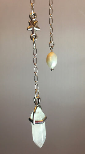 Pendulum ~ Clear Quartz Point on Silver Chain with Small Silver Star & Pearl Fob