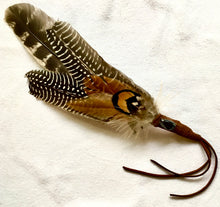 Feather Smudge Wand adorned with Leather & Hematite